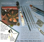 Tools used to sculpt dollhouse seafood, mussels or dolls house foods